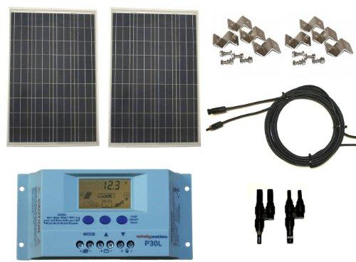Windynation 200 Watt Solar Panel Kit 2pcs 100w Solar