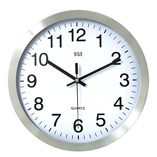 HITO 12 Inches Silent Nonticking Wall Clock with Metal Frame and