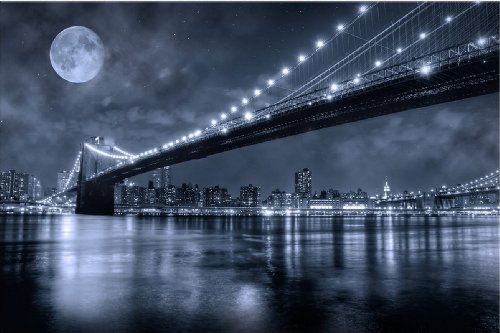 Brooklyn Bridge Wall Art startonight wall art canvas brooklyn bridge, new york usa design